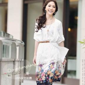 Y8792韩版女装 假两件套蕾丝柔棉长T批发