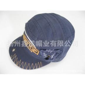 军帽,平顶帽,供应全棉绣花金属五角星水洗成人平顶军帽