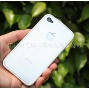 iPhone4 苹果  金属拉丝奢华白色玻璃面外壳
