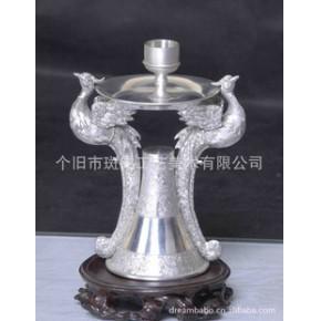 【优质】云南特色工艺品 中国斑锡双凤烛台