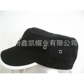 军帽,平顶帽,成人帽,供应全棉绣花金属气眼成人军帽