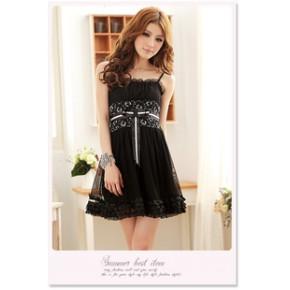 2011夏装新款蕾丝花边时尚修身性感 高腰吊带连衣裙