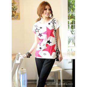 2011夏装新款热卖韩版五角星休闲短袖T恤