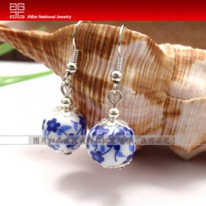 【厂家直销】 民族饰品耳环批发 精致的小蓝梅瓷珠耳环EH-D017