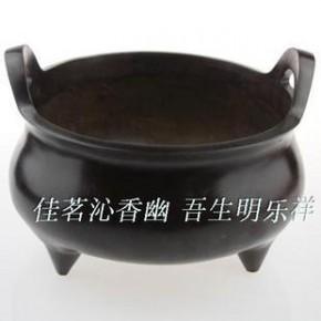 纯铜香炉 紫铜色(纯黄铜)立香3.66公斤高仿做旧 大元宝炉