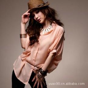 Y2702韩版夏季蝙蝠袖雪纺衬衫