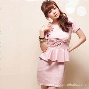 Y2697韩版交叉皱领荷叶边弹性棉质连衣裙 一件代销