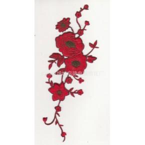 现货批发电脑绣花红色长条大花刺绣布贴