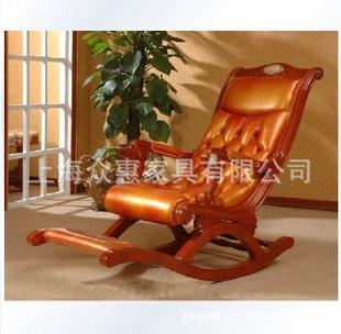 欧式宫廷摇椅/真皮休闲椅/美式太师椅/新古典躺椅(zh-5234)