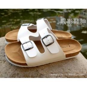 预定凉拖软木拖鞋夏季休闲一字情侣款男女式时尚白色