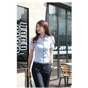 新款韩版泡泡短袖正装修身工作服大码棉衬衣女式OL职业衬衫