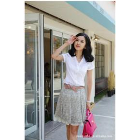 新款韩版可爱公主收腰短袖工作服衬衣夏季女装OL通勤职业装衬衫