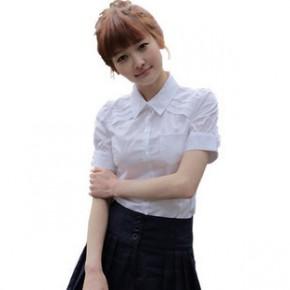 新款韩版公主泡泡袖夏装工作服大码短袖衬衣女式职业装衬衫白色