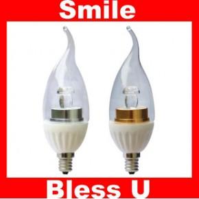 节能环保E14 E12 3W大功率高显色 LED 透明 蜡烛球灯