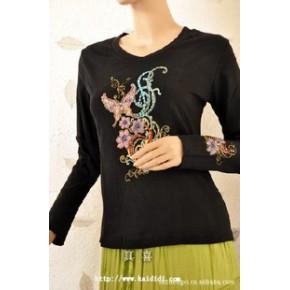 长期批发供应  珠绣系列  珠绣印花长袖T恤黑底纯棉