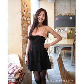 2011夏装新款韩版女装拼色爆款拼色连衣裙