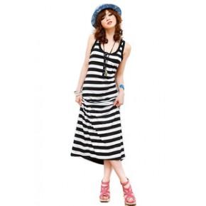 2011夏装新款韩版时尚风格条纹超长连衣裙