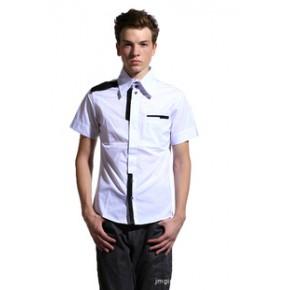 RAJA 2011春夏款 经典百搭黑白休闲短袖衬衫 男