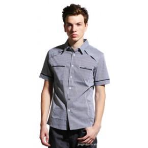 2011夏装 简约百搭 韩版男士休闲衬衣 男式修身短袖衬衫