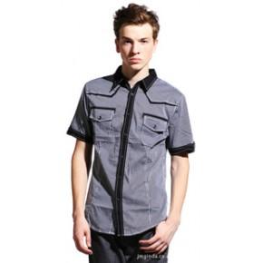 【RAJA】新款男装夏装衬衣 全棉休闲格子短袖衬衫 男