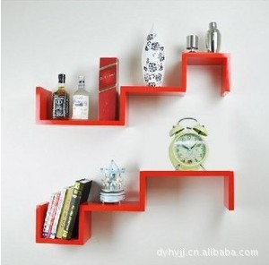 双s型搁板 创意格子 木制搁物架 置物架 装饰品 收纳