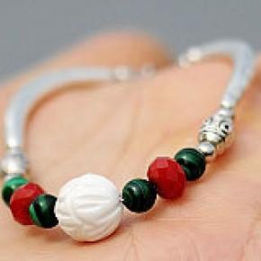 民族饰品 复古藏饰 孔雀石砗磲手链