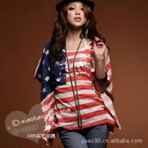 Y10622瑞丽女装T恤 美式国旗宽版上衣 一件代销