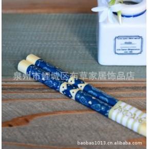 日单 蓝色 爱心鱼 日式 竹筷