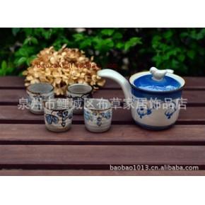 日式 和风手绘 小鸟 手柄 茶壶 葡萄小茶杯 5件套