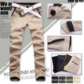 批发韩版英伦修身 男裤子 波点撞色休闲裤 可翻遍纯棉长裤4色K28