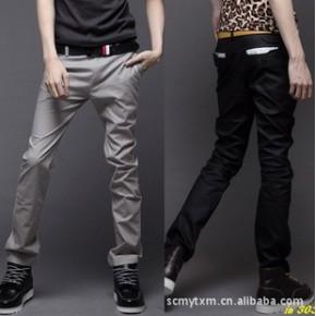 【2011男式秋装新款】休闲裤 长裤 黑缵钉扣男士裤子3色K33