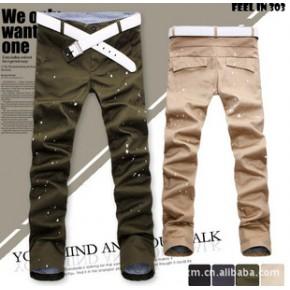 新款韩版修身 男士休闲裤 男 长裤 牛仔格可翻边 纯棉 4色K32批发
