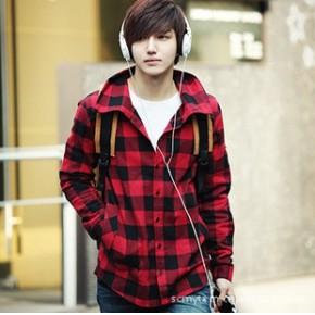 2011新款英伦风衬衣 红色格子宽松型纯棉 长袖衬衫 男士衬衣121