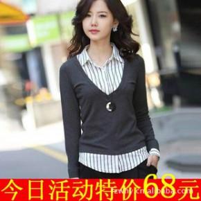 批发韩版气质假两件套女装衬衫领T恤针织衫 4088