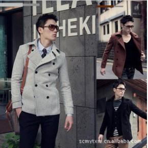 2011新款韩版修身呢风衣 时尚休闲中长款纯棉男式风衣 外套161