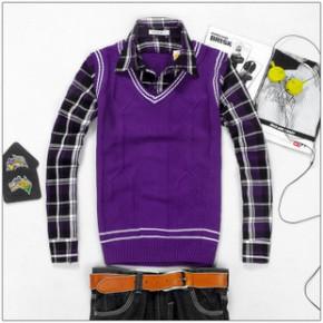 11新款秋冬装潮流前线 男装英伦假两件格子衬衣长袖毛衫