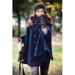 2011韩版 简约双排扣斗篷风衣 蝙蝠袖