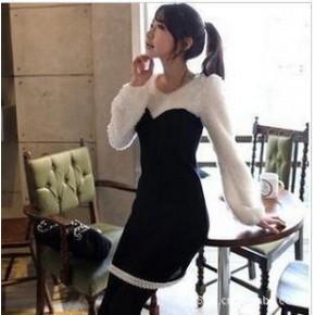 2011秋装韩版新款 烟花绒 个性女人味十足 修身拼接 连衣裙