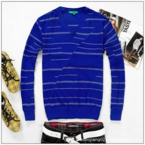 2011新款秋冬装 森马男装韩版休闲纯棉V领条纹毛衣 针织衫