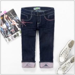 2011新款夏装 红蜻蜓 女装直筒有弹性牛仔中裤七分裤