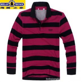2011新款秋装 海*家商务男装韩版休闲纯棉条纹长袖T恤