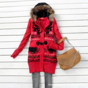 2011新款秋冬装 休闲韩版中长款加绒加厚带帽毛衣外套