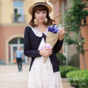 日系甜美学院风女装蕾丝勾花娃娃领 短款爱心图案 针织开衫 蓝色