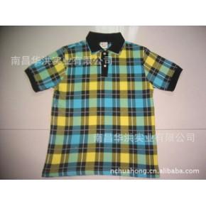 男式双领印花格子T恤衫,出口日本