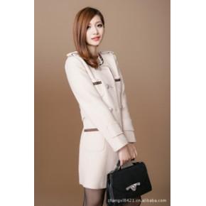 外滩衣元素 2011新款韩版女装修身毛呢外套中长款妮子大衣外套