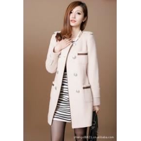 外滩衣元素 韩版秋冬装修身 纯色毛呢大衣双排扣外套长款