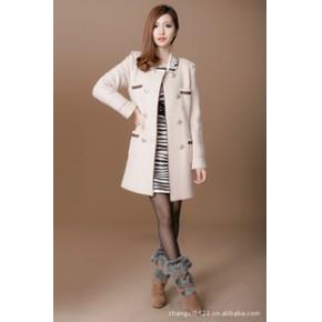 2011新款秋冬女装批发长袖简约口袋明星同款毛呢大衣外套
