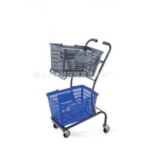 超市设备,日式双层促销购物车,喷塑手推车,货架设备