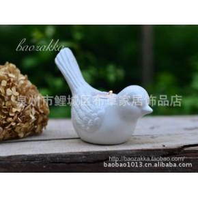 杂货 陶瓷 小鸟 烛台 黑白色可选