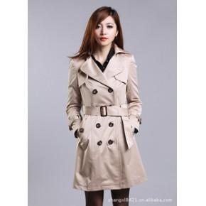 外滩衣元素2011秋装新款韩版女装翻领双排扣修身中长款风衣外套